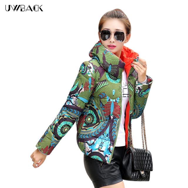 Uwback 2017 novo inverno para baixo mulher casaco de impressão floral plus size magro casacos mulheres outwear curto wadded parka mujer tb1083