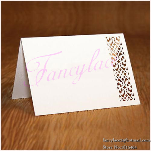 50pcs Hot Sale New Laser Cut Hollow Paper Iron Crafts Name Place Cards Romantic Wedding Table Cards Decoration Free Shipping
