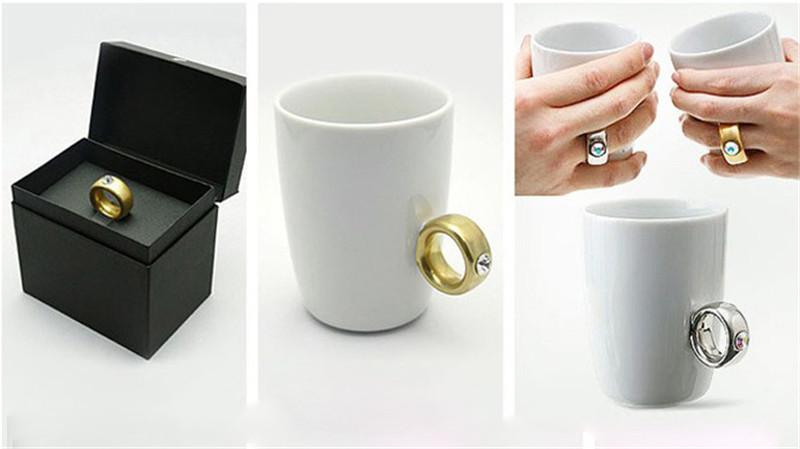 Creative Wedding Gifts Lovers Couple Cartoon Elegant Crystal Diamond Ring Mugs White Ceramic Cute Water Coffee Mug Drinkware4