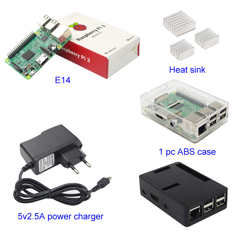 Raspberry Pi Start Kit Raspberry Pi 3 Model B+3pcs Aluminum Heat sink+ABS Case Box+5V 2.5A Power Charger Plug for Raspberry Pi 3 tengying l298n motor driver board for raspberry pi red