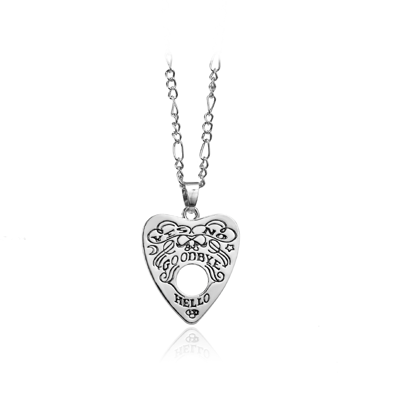 Heart-shaped Necklace Hello Goodbye Yes Or No Alloy Custom Necklace Engraving Your Own Necklace For Male And Female Friends image