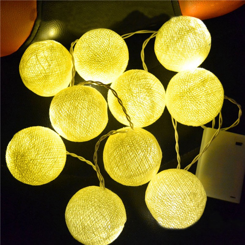 Waterproof 5M 20LED String Light Cotton Shape Fairy Lamp Christmas Garden Party Wedding Decoration US/EU Plug LED Holiday Light ...