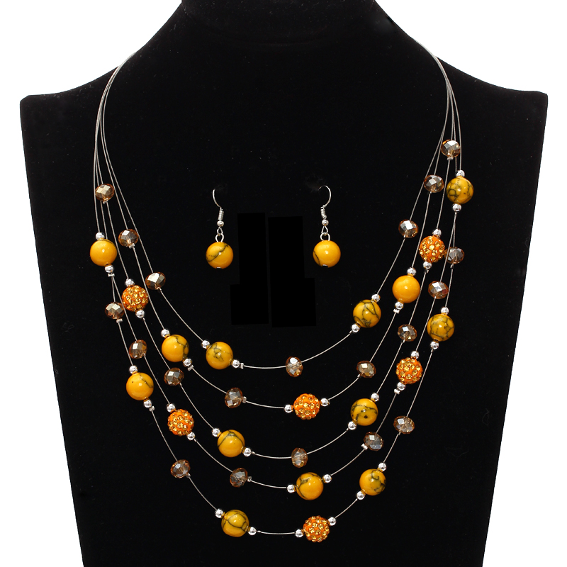 Orange Ball Jewelry Sets Multilayer Bohemia Beads Statement Necklace Ball Dangle Earrings Costume Jewelry