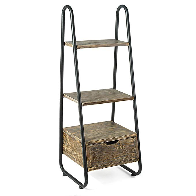 Rustic Pipe Shelf Vintage 3 Tier Ladder Shelf Living Room & Bedroom Storage Chest