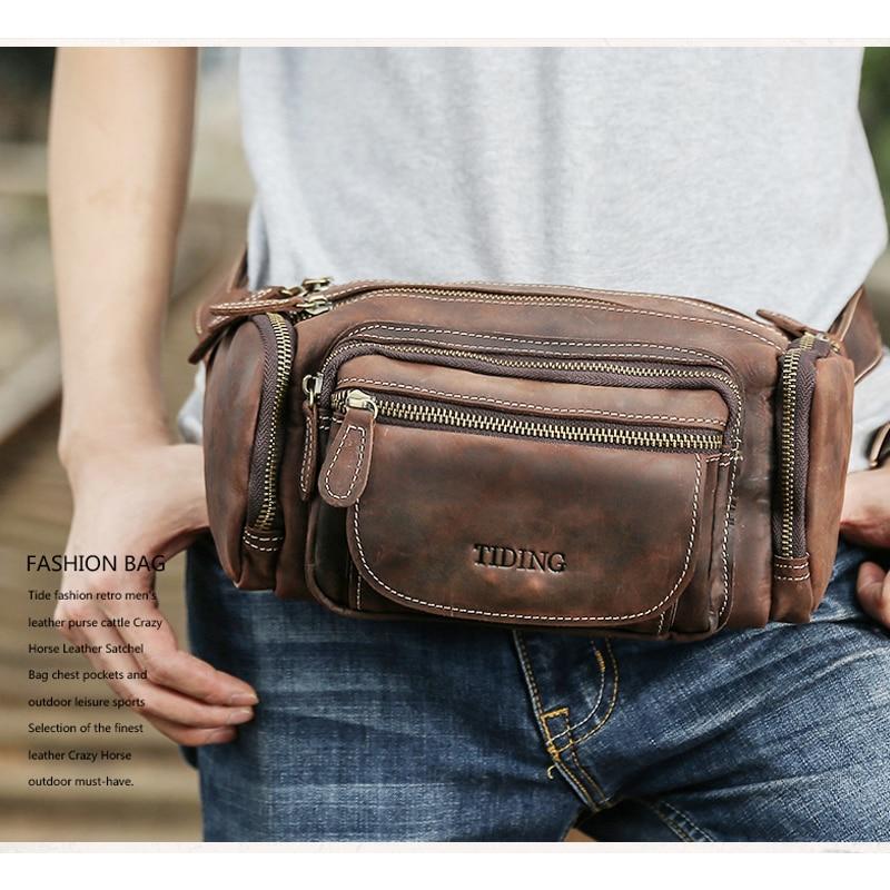 Luxury Cow Leather Waist Pack Bag Mens Vintage Pillow Fanny Pack Bum Bag Hip Belt Pouch