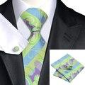 C-615 Paisley Jacquard Corbata de Seda Corbata De Seda Set Lawngreen Mediumorchid Pocket Square Gemelos Set Trajes de Hombre Y Camisa