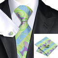 C-615 Paisley Silk Tie Set Lawngreen Mediumorchid Silk Jacquard Necktie Pocket Square Cufflinks Set for Men's Suits And Shirt