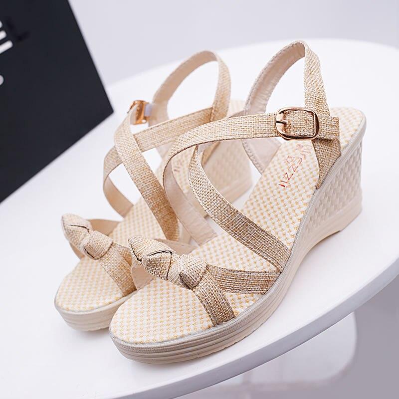 Women Comfy Platform Sandal Shoes Summer Wedges Woman Sandalias Mujer 2019 Casual Straw Simple High Heel Beach Platform Sandals