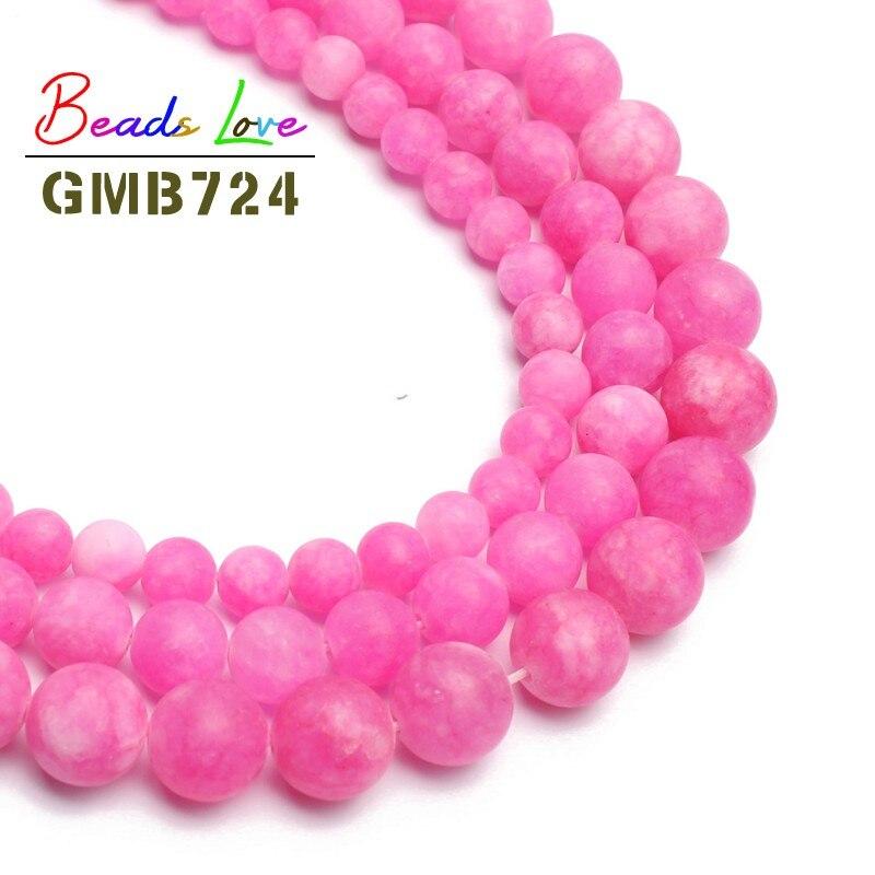 Beautiful Matte Rose Red Stone Round Loose Beads For Jewelry Making Diy Bead Bracelet Choker Jewellery Making 6/8/10mm 15