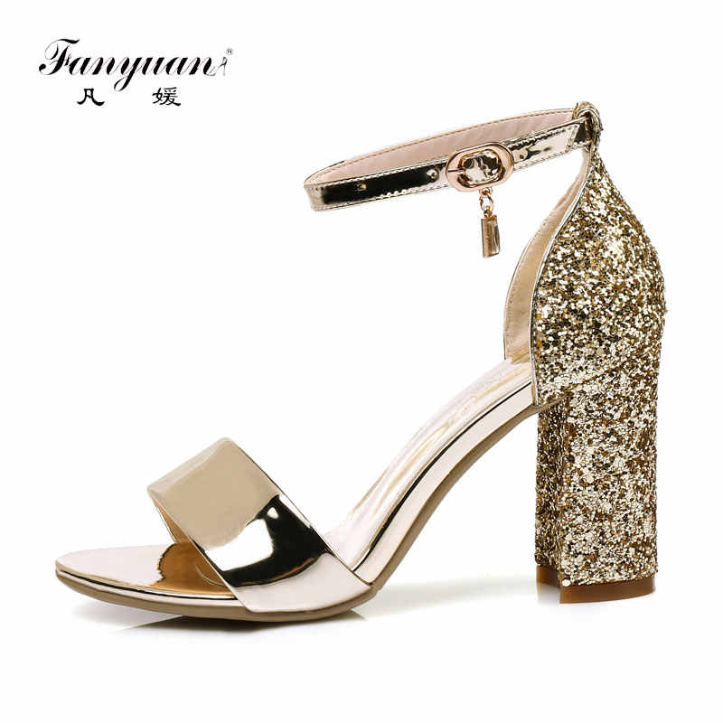 Fanyuan mature bride Wedding Glitter Sandals Summer High-Heeled Ankle strap Sandals sexy lady Party Dress Block Heels Gold shoes