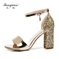 Fanyuan mature bride Wedding Glitter Sandals Summer High Heeled Ankle strap Sandals sexy lady Party Dress Block Heels Gold shoes