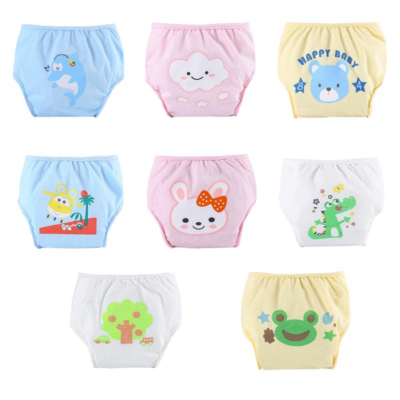 Baby Cartoon Pattern Reusable Washable Cloth Diaper Anti-side Leakage Diaper Pants  Boys Girls Clothes