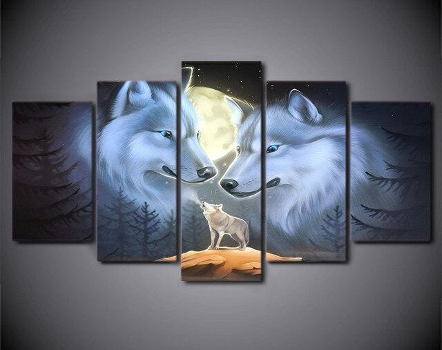 5 Stück Leinwand Kunst Abstrakte Weiße Wolf Paar Malerei Mond ...