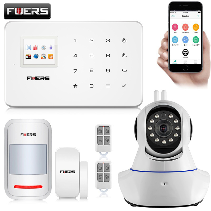 FUERS G18 Wireless GSM Alarm Systems Security Home IOS/Android APP Remote Control Alarm With PIR Motion Door Sensors Detector fuers wireless home security gsm wifi sim alarm system ios android app remote control rfid card pir door sensor siren kit