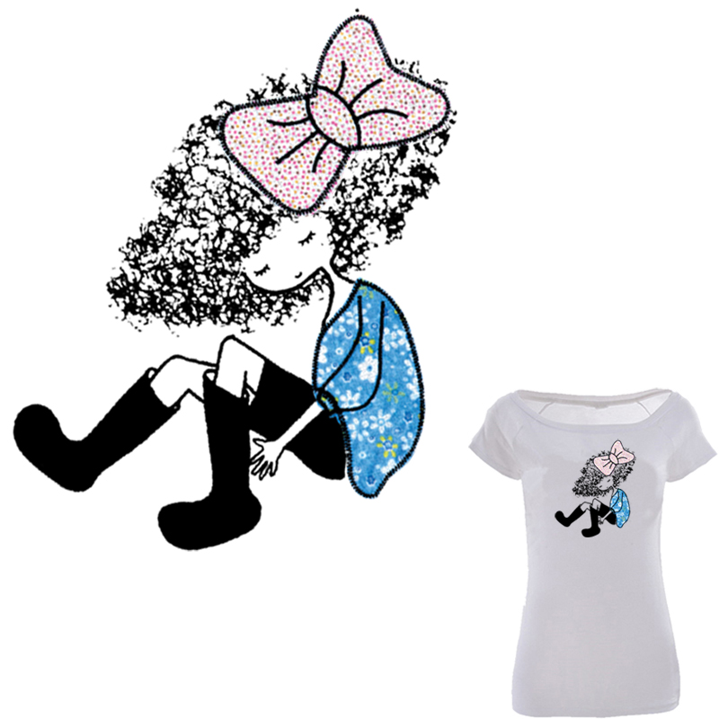 Blue girl heat transfer 18 23cm a level washable ironing for Heat transfer stickers for t shirts