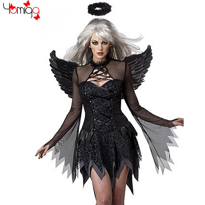 fancy halloween costume female gothic dress sexy carnival cos play costumes for girls stage fantasias adult black angle costume on aliexpresscom alibaba