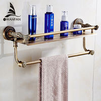 VidricShelves 2 Layers Towel Rack Shower Storage Basket Bath Wall Shelf Brass Bathroom Accessories Towel Bar Hangers SL 7842