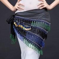 מכירה חמה שבטי חגורות ריקודי בטן 2 צבעים נשים טאסל צעיף ירך ריקודי בטן מטבעות חרוזים הצעיפים המשולשים מטבע חגורה