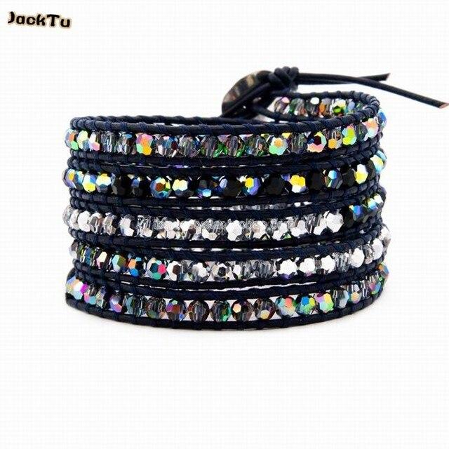2017 AB crystal coloful crystal mixed 5 wap leather bracelet
