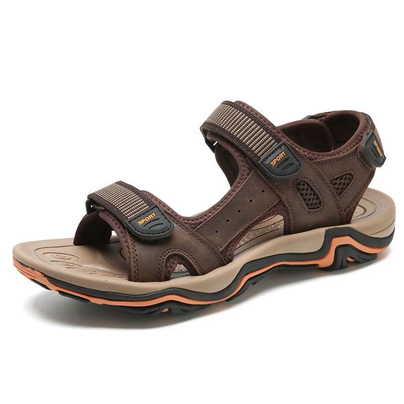 LINGGE/Новинка; модные мужские сандалии; большие размеры 39-45; ; летняя пляжная обувь; повседневные мужские сандалии из натуральной кожи;#2626 - Цвет: dark brown