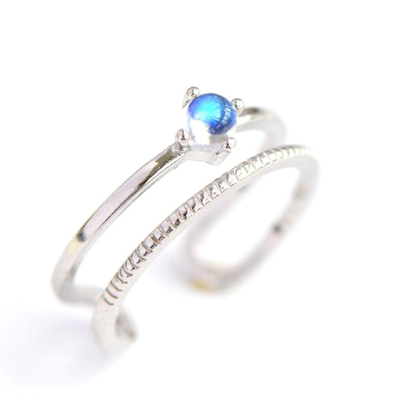 2018 nouveau népal naturel pierre de lune bleu ciel Fingle anneau pour femmes et fille 100% 925 bague en argent Sterling bijoux fins
