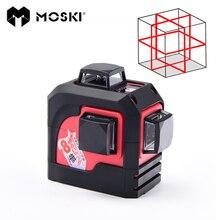 Moski, MW-93T 3D 12 линий лазерный уровень, красный лазерный уровень, наливные 360 по горизонтали, вертикальный крест супер мощный