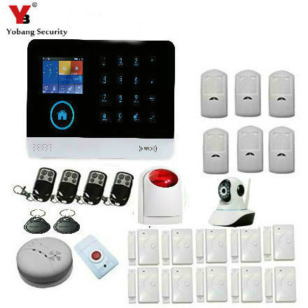 Yobang Security WIFI GSM Alarm System Wireless with IP Video Camera for Home House Security SMS Call Android App Russian Spanish king pigeon t4 direct factory gprs gsm emergency alarm telecare helper system sms for blood pressure monitor with android app
