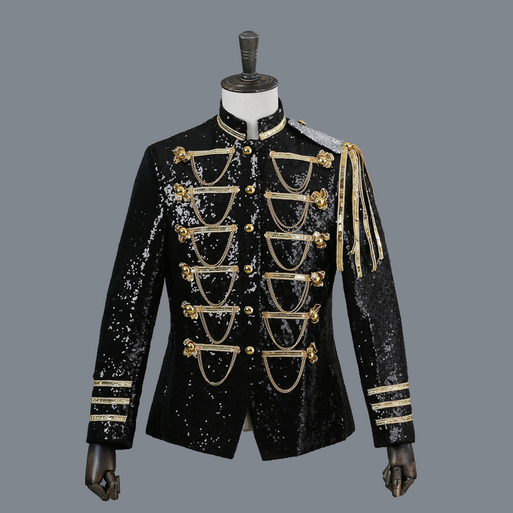 <font><b>Men</b></font> Suit <font><b>Jacket</b></font> Court Dress PerforMence <font><b>Men's</b></font> Tuxedo Show <font><b>Sequins</b></font> Silver-white Black Red <font><b>Mens</b></font> <font><b>Blazer</b></font> <font><b>Jacket</b></font> Single Breasted image