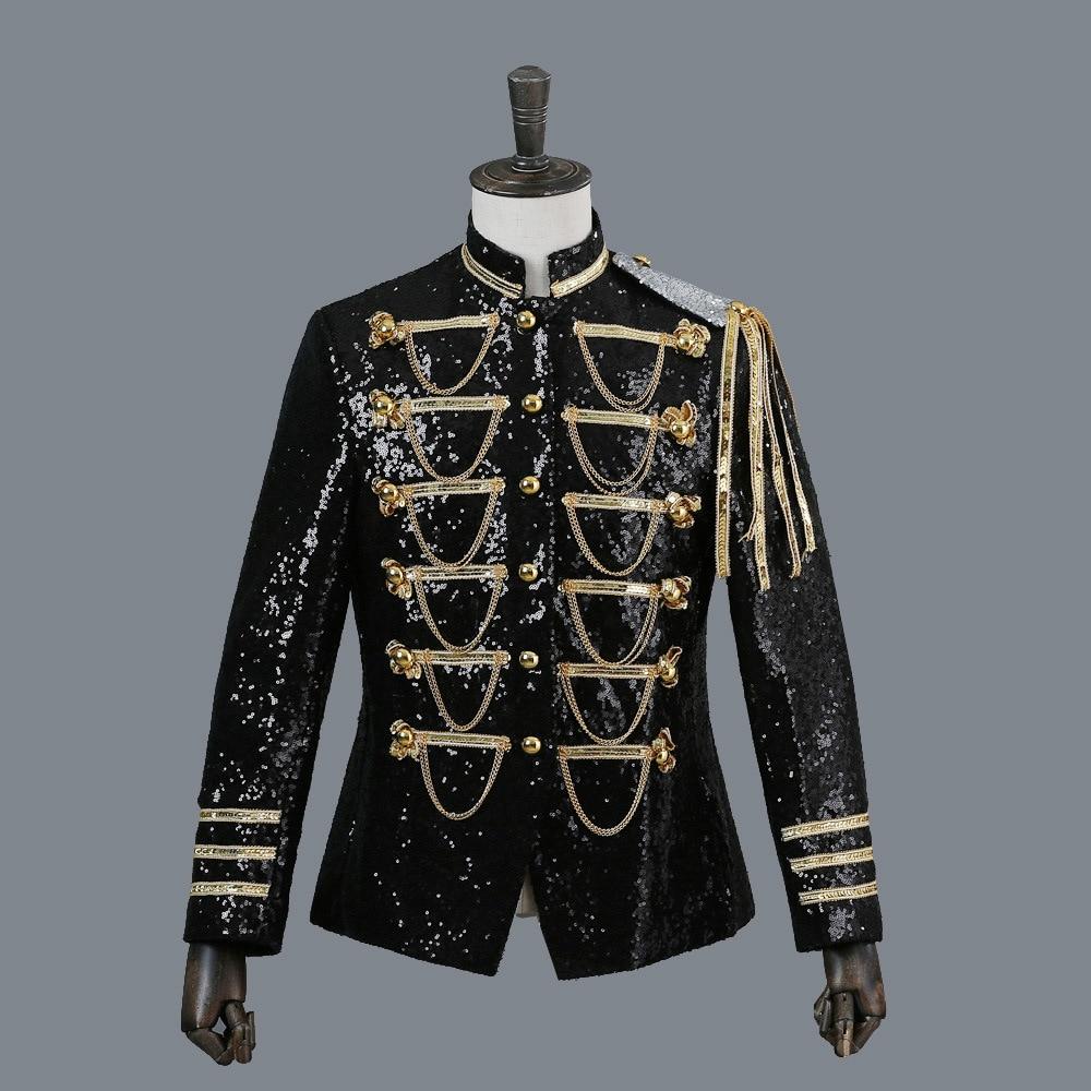 Men Suit Jacket Court Dress PerforMence Men's Tuxedo Show Sequins Silver-white Black Red Mens Blazer Jacket Single Breasted