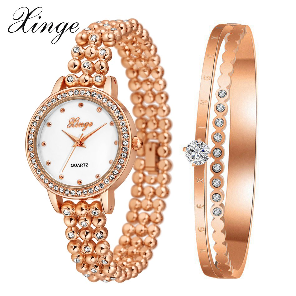Xinge Brand Luxury Women Watches 2017 Alloy Gold Jewelry Bracelet Wristwatch Women Dress Popular Quartz Clock Watch popular brand watch women gold bracelet weave leather