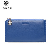 HONGU First layer Genuine leather Bags Women Money Clips Credit Card Clip Wallet Package Pocket Zipper Blue Female Purse Wallets