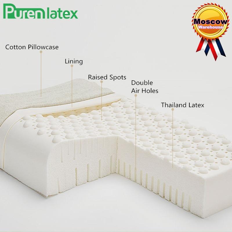 PurenLatex 60x40 thaïlande pur Latex naturel haut oreiller correctif cou protéger vertèbres orthopédiques taches de Massage Xiaomi oreiller