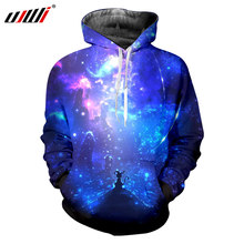UJWI 2018 Plus Size Spring Hooded Hoodies Men Hip Hop Long Sleeve Pullover  Sweatshirts 3D Printing Blue Space Galaxy Tops Hoody e81fc4a430ee