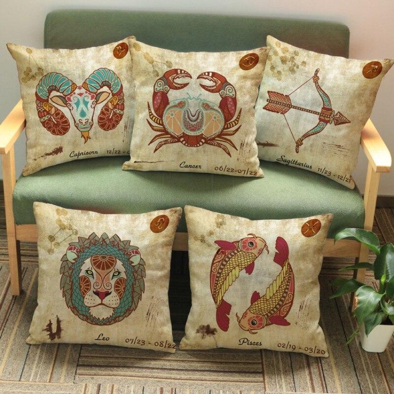 Vintage 12 Signs Zodiac Capricorn Aquarius Pisces Decorative Coffee Shop Decorative Pillow Covers Sofa Chair Cushion Cover Decor(China)