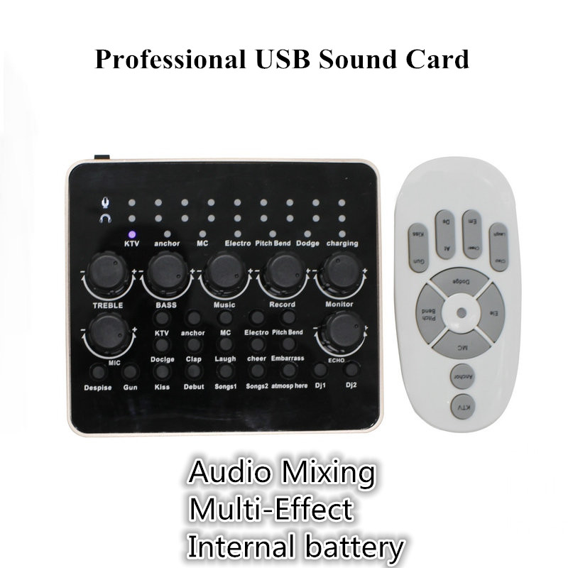 Professional USB Sound Card Plug Play USB Audio Interface External Computer PC Phone Sound Card for