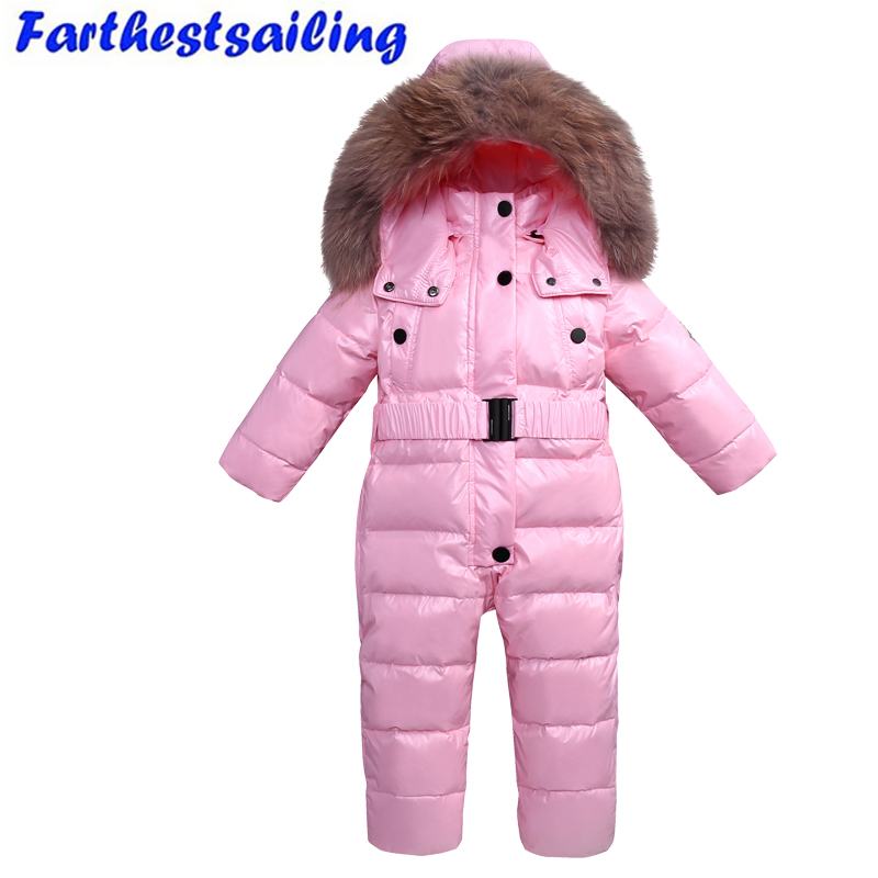 30 Degree Russian Winter Children Skiing Suit Snowsuit Baby Boys Jumpsuits Clothing Waterproof Down Warm