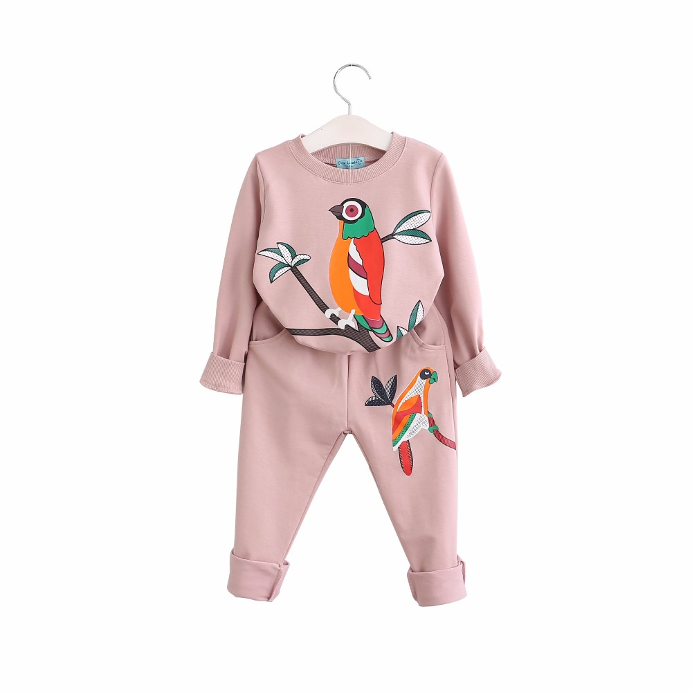 New Baby Girls Spring Autumn Childrens Clothing Set Long Sleeve Bird Printed Pullover Top+Pant 2 Piece Sets Sports Casual Suits