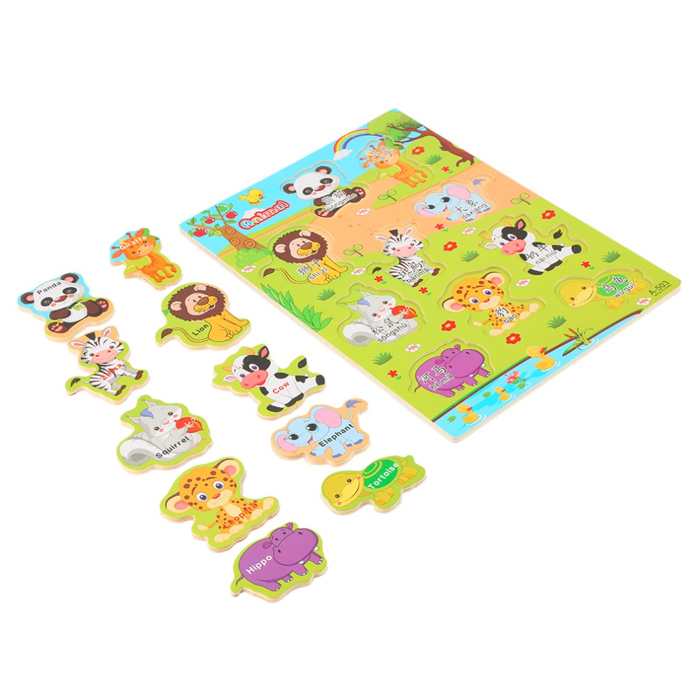 1Set Children Alphabet Letter Wooden Jigsaw Learning Educational Puzzle Toys Animal identification Hot Sellling