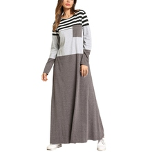 Autumn Patchwork Contrast Striped Dress Casual Loose Straight T-Shirt Women Winter Full Sleeve Ankle-Length Dress