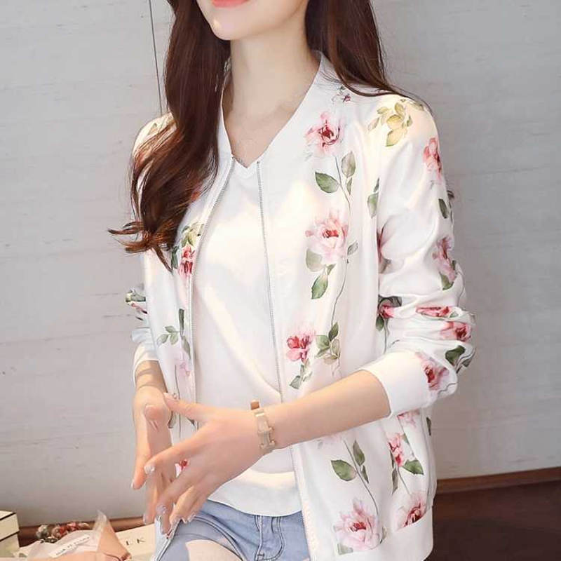 Plus Size 3XL Spring Print Coat Women   Jacket   Long Sleeve Casual Short Bomber   Jacket   Women Veste Femme Women   Basic     Jackets   C5335