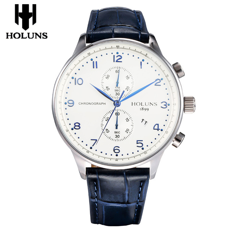 HOLUNS Original Wrist Watch Men Date Display Luxury Chronograph Watches Man Leather Band Casual Male Clock Quartz Top Brand Gift men black watch chronograph casual quartz wrist watches top luxury brand date leather strap clock male sport shock fashion gift