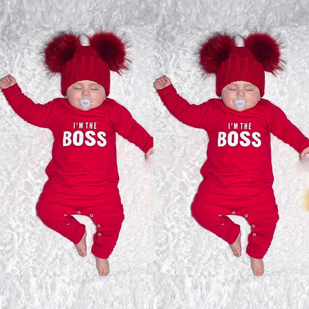 Комбинезон с длинными рукавами и буквенным принтом для новорожденных и маленьких мальчиков; комбинезон; одежда красного цвета; I'm The Boss; Модный Новый дизайнерский комбинезон