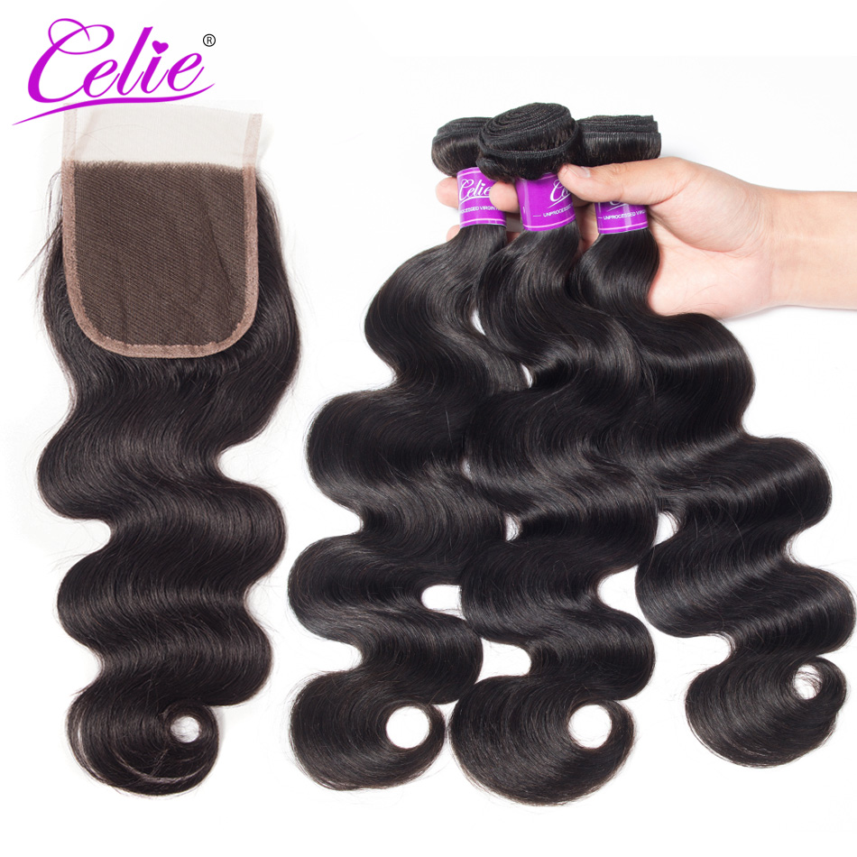 Celie Hair Body Wave Bundles With Closure Brazilian Hair Weave 3 Bundles With Lace Closure Remy Human Hair Bundles With Closure