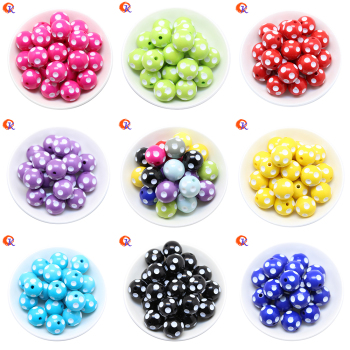 Cordial Design Fashion Jewelry Mixed Color 12MM 14MM 16MM 18MM 20MM Resin Polka Dot Beads For Chunky Beaded Necklace Jewelry