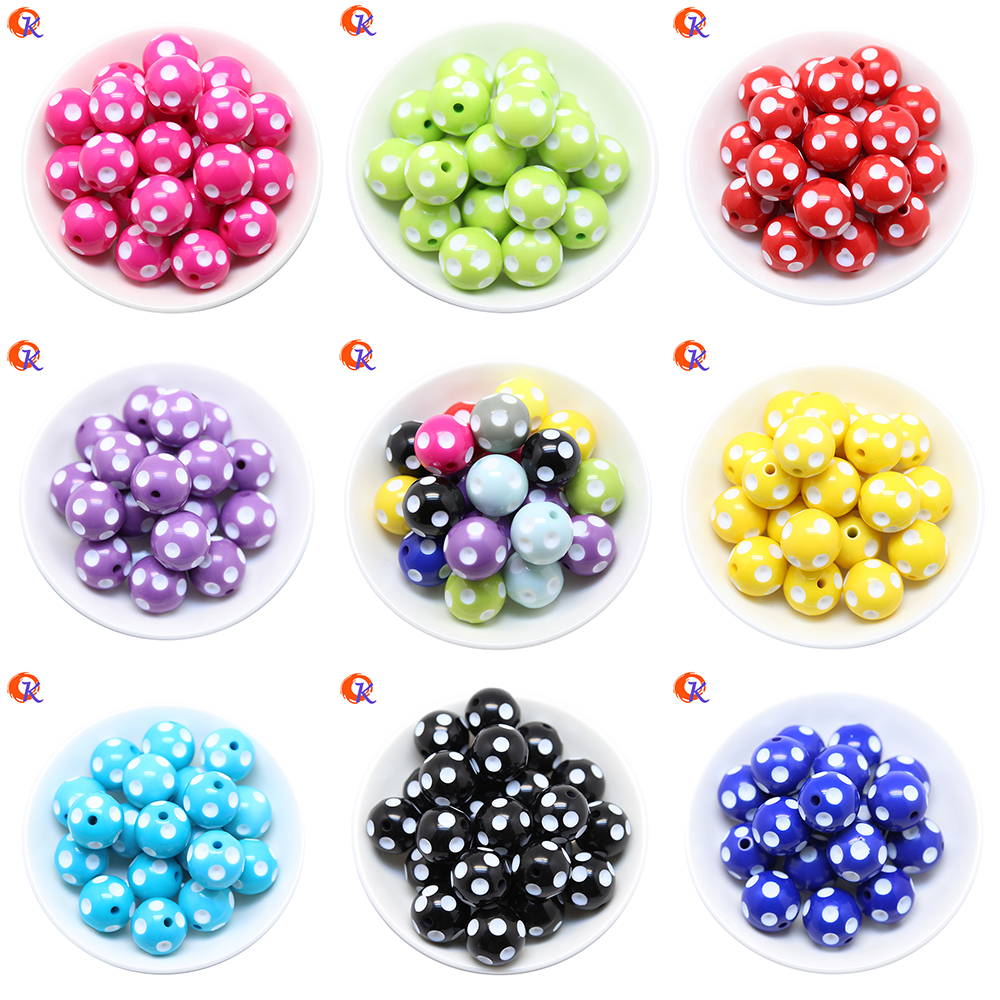 Cordial Design Fashion Jewelry Mixed Color 12MM 14MM 16MM 18MM 20MM Resin Polka Dot Bead ...