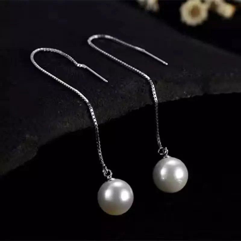 natural white pearl drop earrings s925 silver women Elegant simple fashion drop Earrings for party faux pearl ball drop earrings