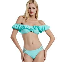 2018 New Arrival Push Up Triangl Summer Solid Bikini Set Bandeau Push Hot Models Women Out