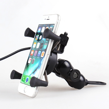 2 in 1 Motorcycle Phone Holder For 4 to 6.5 inch Mobile phone USB Charger Holder For iPhone X 8 7 Plus Moto bike Support Mount