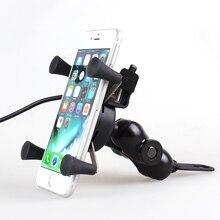 2 in 1 Motorfiets Telefoon Houder Voor 4 tot 6.5 inch Mobiele telefoon USB Lader Houder Voor iPhone X 8 7 Plus Moto bike Ondersteuning Mount