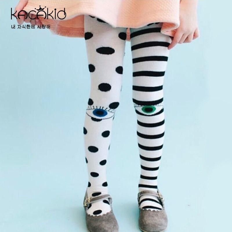Kacakid crianças collants meia-calça pontos listra bonito do bebê menina meia-calça collants adorável algodão olhos crianças menina meia-calça ka1120 +